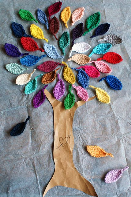 Crochet leaves & make foam board tree covered in packaging paper {maybe paint tree & create background. Add velcro to back of leaves, maybe crochet fruit as well? Would make a really cute activity for little hands!}