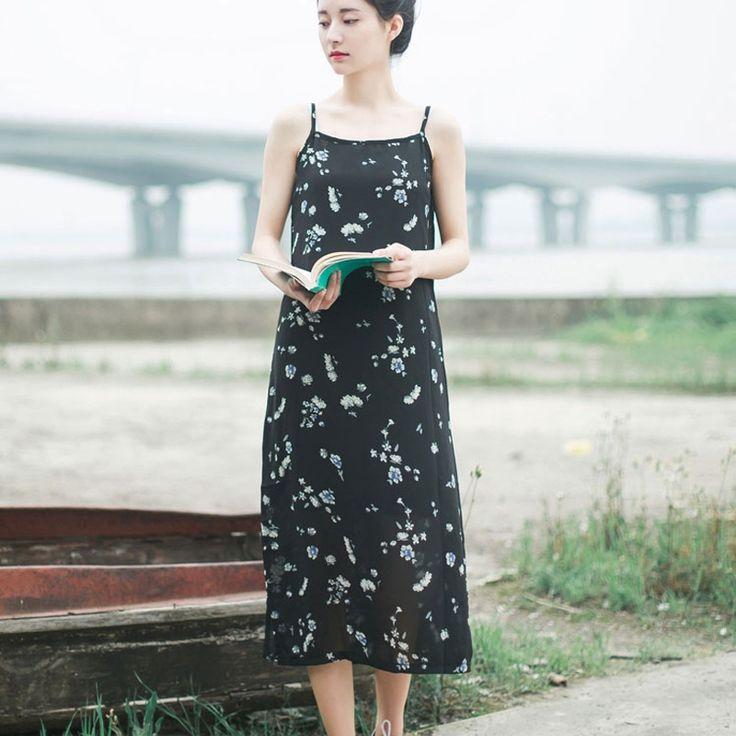 Женское платье Цветочный принт платья Черный шифоновое платье без рукавов повседневные Свободные Спагетти ремень летнее пляжное платье Размеры S XLкупить в магазине Mira's Natural LifeнаAliExpress