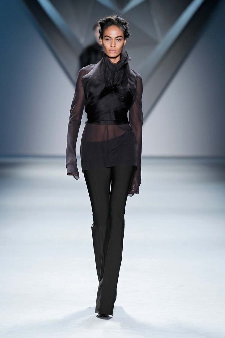 Brown organza multi-layer flange harness over brown silk chiffon long sleeve top and brown techno stretch flared pant.Vera Wang, 2012 Collection, Design Clothing, Clothing Accessories, Fall 2012, Fashion Fall, Wang Fall, Designer Clothing, 2012 Bridal
