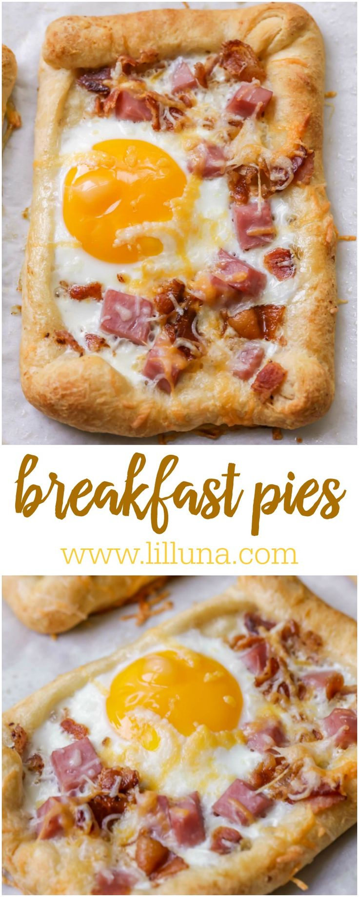 Cheesy Breakfast Pie topped with an egg, ham, bacon and cheese!