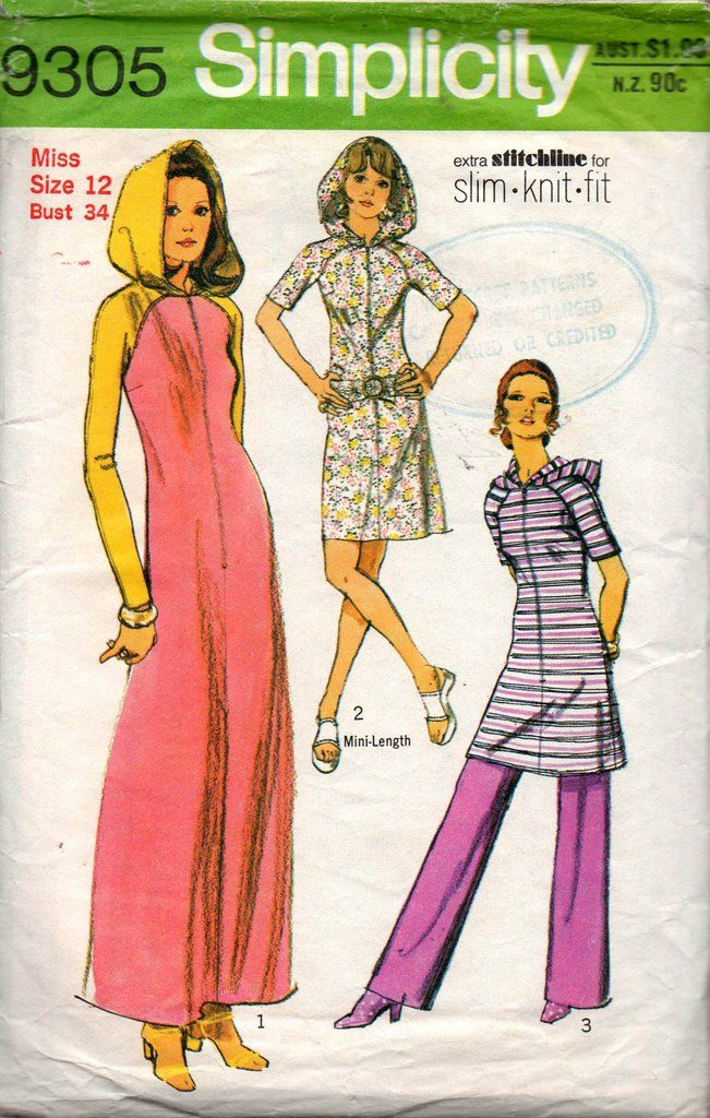 Simplicity 9305 Womens Zip Front Hooded Maxi / Mini Caftan Dress & Pants 70s Vintage Sewing Pattern Size 12 Bust 34 inches