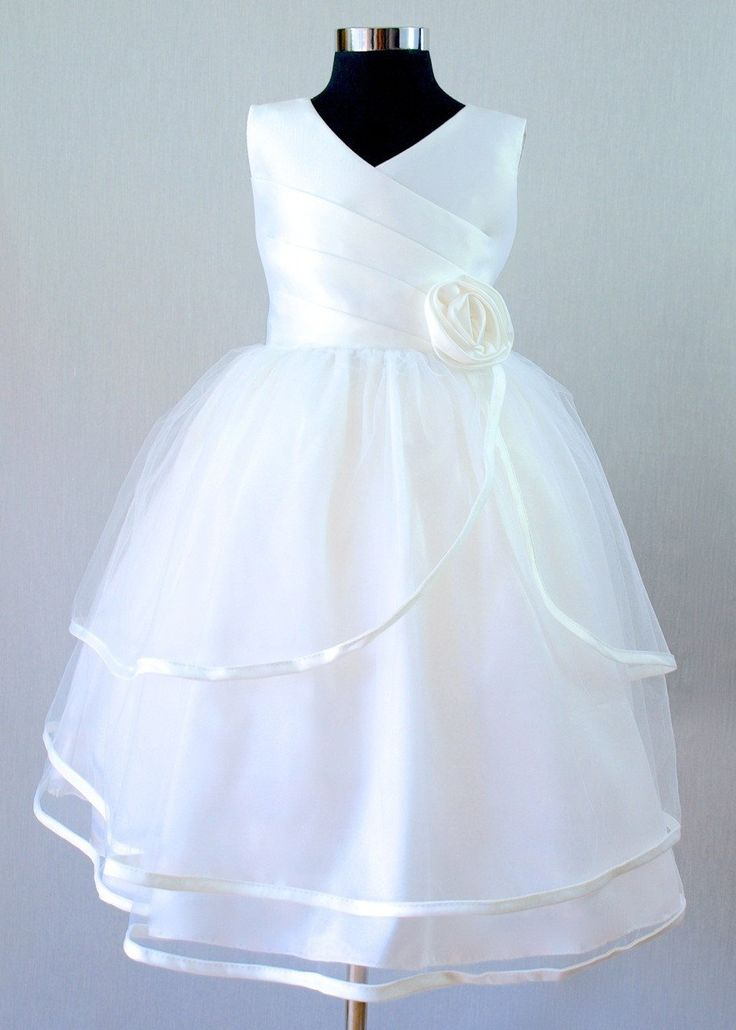 Anna girls white formal dress, sizes 2-8. www.poshtots.com.au