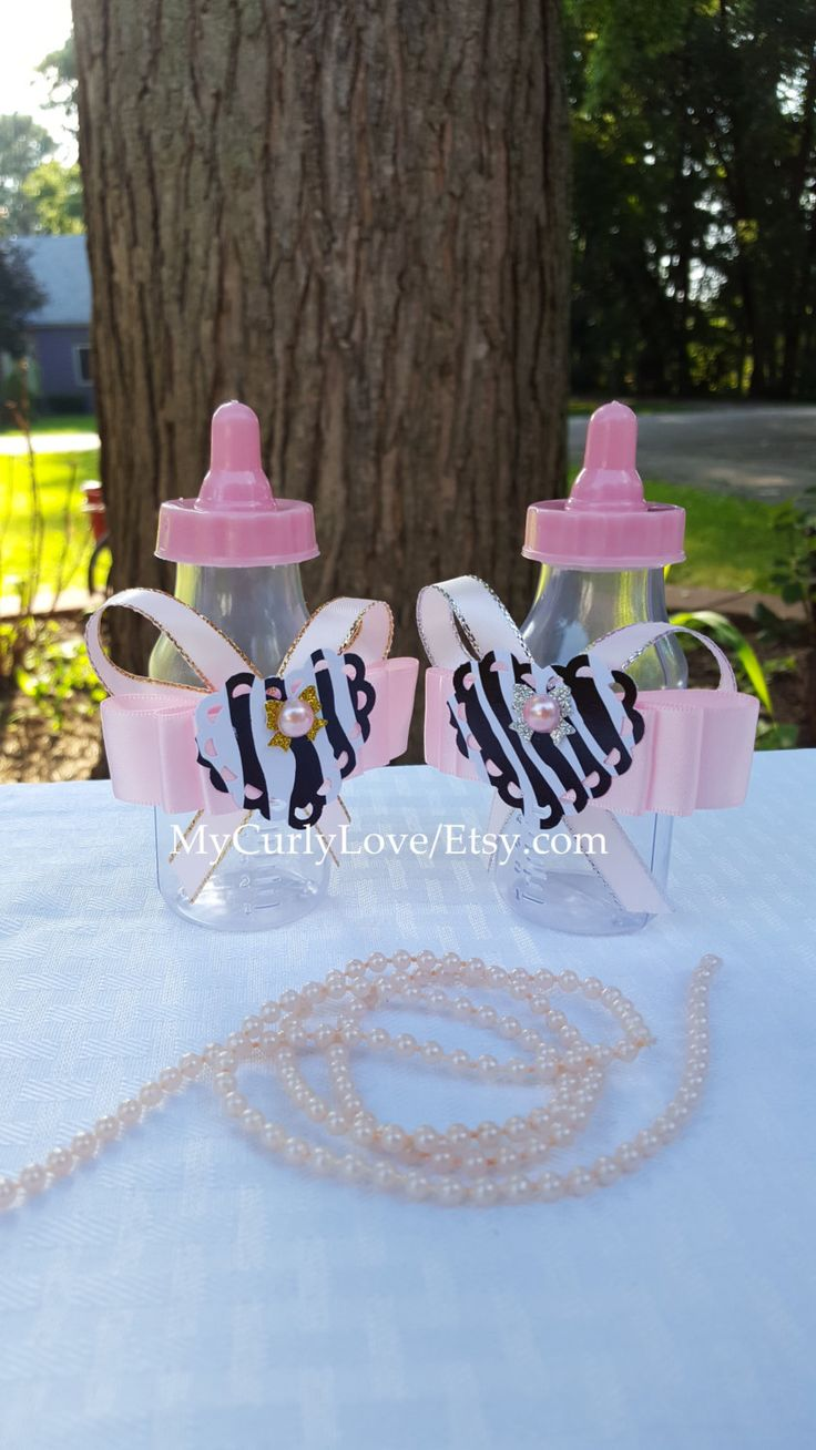 12 zebra baby shower bottle favorspink and black baby shower favorsgirl baby