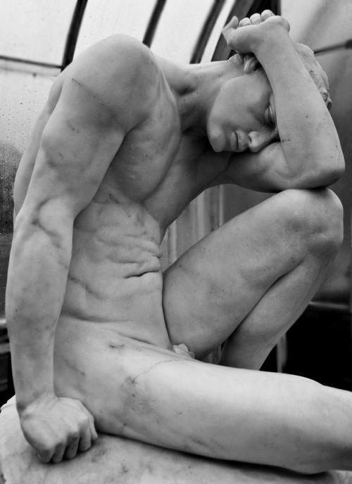 """Cain, or, My punishment is greater than I can bear,"" by Edwin Roscoe Mullins (1848-1907), Kibble Palace (botanic gardens), Glasgow. Marble, 1899."