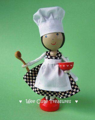 super cute Wooden doll cake topper
