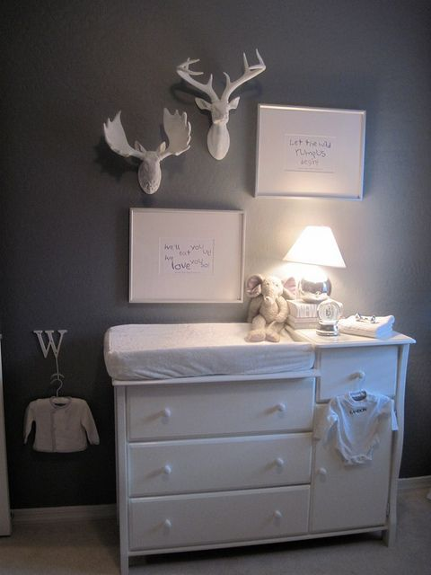 The only way I could fulfill Ryan's love for antlers in a nursery...in a boys room, of course