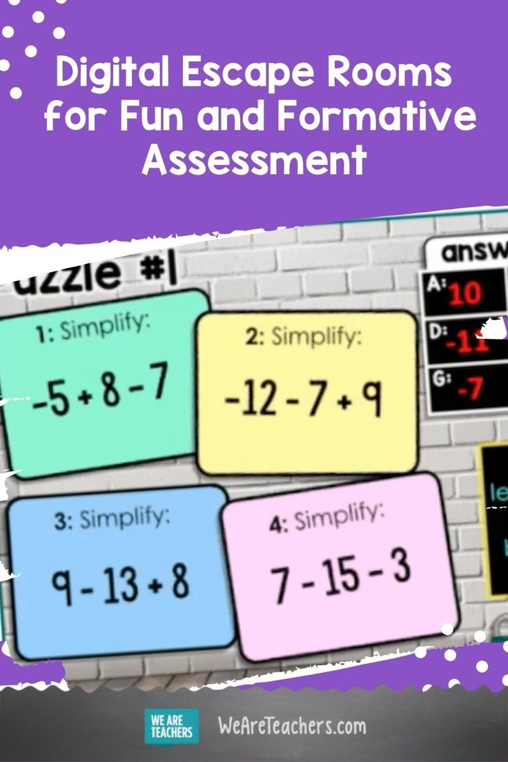Digital Escape Rooms For Fun And Formative Assessment In 2021 Formative Assessment We Are Teachers Math Classroom Adding and subtracting integers escape
