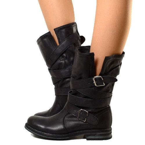 efef4eabe8ad Biker Boots Stivaletti Risvoltabili Con Fasce in Vera Pelle Nera | ShOeS« |  Boots, Shoes, Black boots