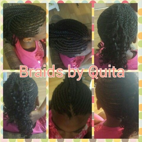 Little girl mohawk braid style with curled ends