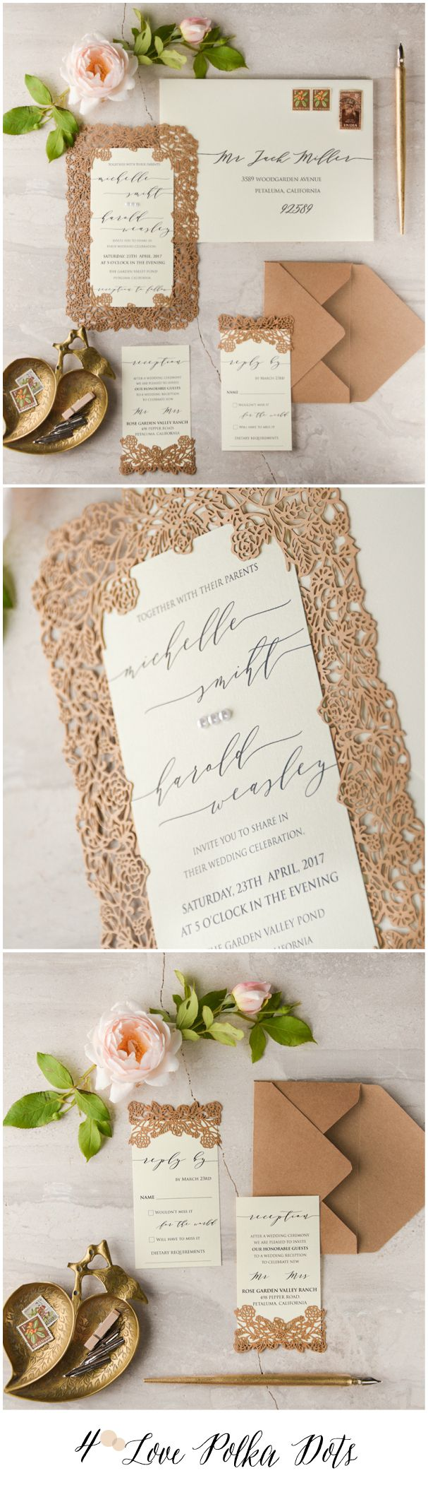 Nude & Neutrals – laser cut lace romantic wedding invitations #sponsored