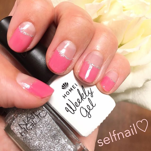 逆フレンチな気分💅♡ メインカラーのhomeiウィークリージェルcherry pinkは、買ってよかった〜もっと早く買えばよかった〜な久々のヒット♡  #セルフネイル#セルフネイル部#逆フレンチ#ショートネイル#homei#nailholic#ウィークリージェル#ピールオフジェルネイル#愛用品#ピンク大好き