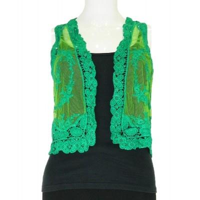 Green Crochet Shrug - SHRUGS - COATS & JACKETS