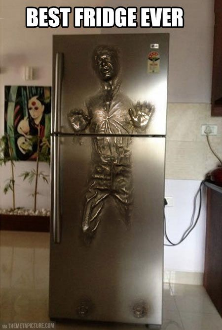 Han Solo Carbonite fridge…I WANT THIS SO BAD!  I AM NERD HERE ME ROAR!  A LONG TIME AGO ....