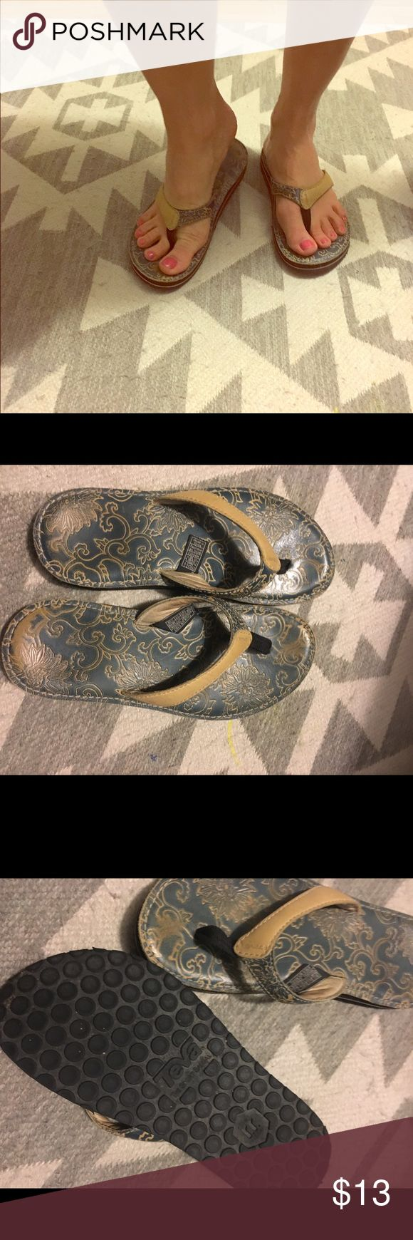 Teva Flip Flops Leather blue and tan Teva flip flops. They have been worn several times but are in great condition and very clean. Teva Shoes Sandals