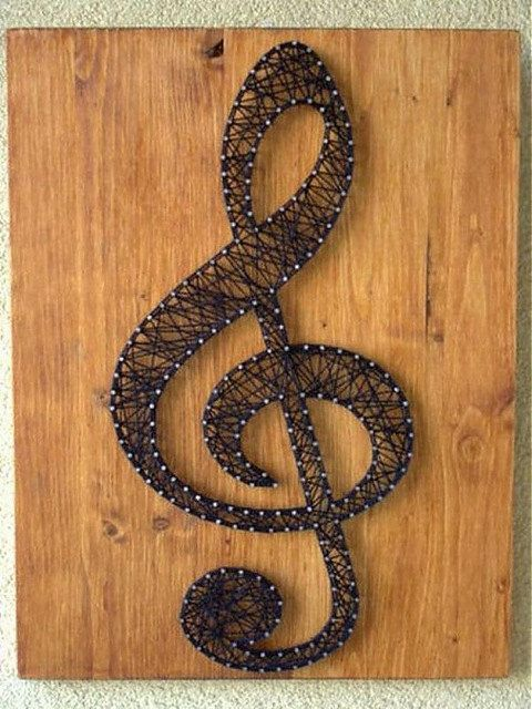 String art Clef  Wall hanging Wooden decoration by Marambra