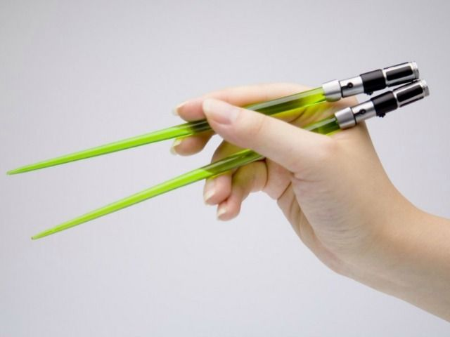 Big fan you are, Lightsaber chopsticks you need. If you are a true blue Star Wars fan who also loves Japanese sushi or Chinese food, you owe it to yourself to get a pair of Star Wars Yoda Lightsaber Chopsticks. Produced by Kotobukiya of Japan, these Lightsaber chopsticks is a great addition to any Star Wars fans' collection of Star Wars memorabilia.