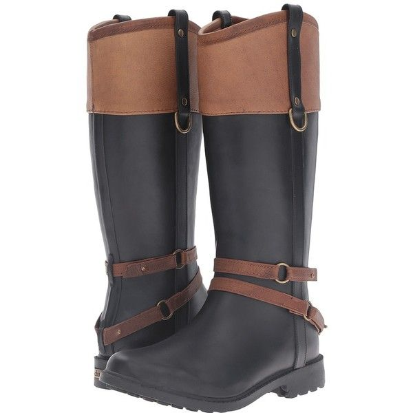Chooka Canter Rain Boot (Black) Women's Rain Boots (€100) ❤ liked on Polyvore featuring shoes, boots, knee-high boots, knee high rain boots, knee high rubber boots, wellington boots, pull on boots and black boots