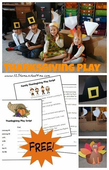 FREE Thanksgiving Play for Families - what a fun way for kids to celebrate the first thanksgiving remembering the Pilgrims. Great kids activities for family