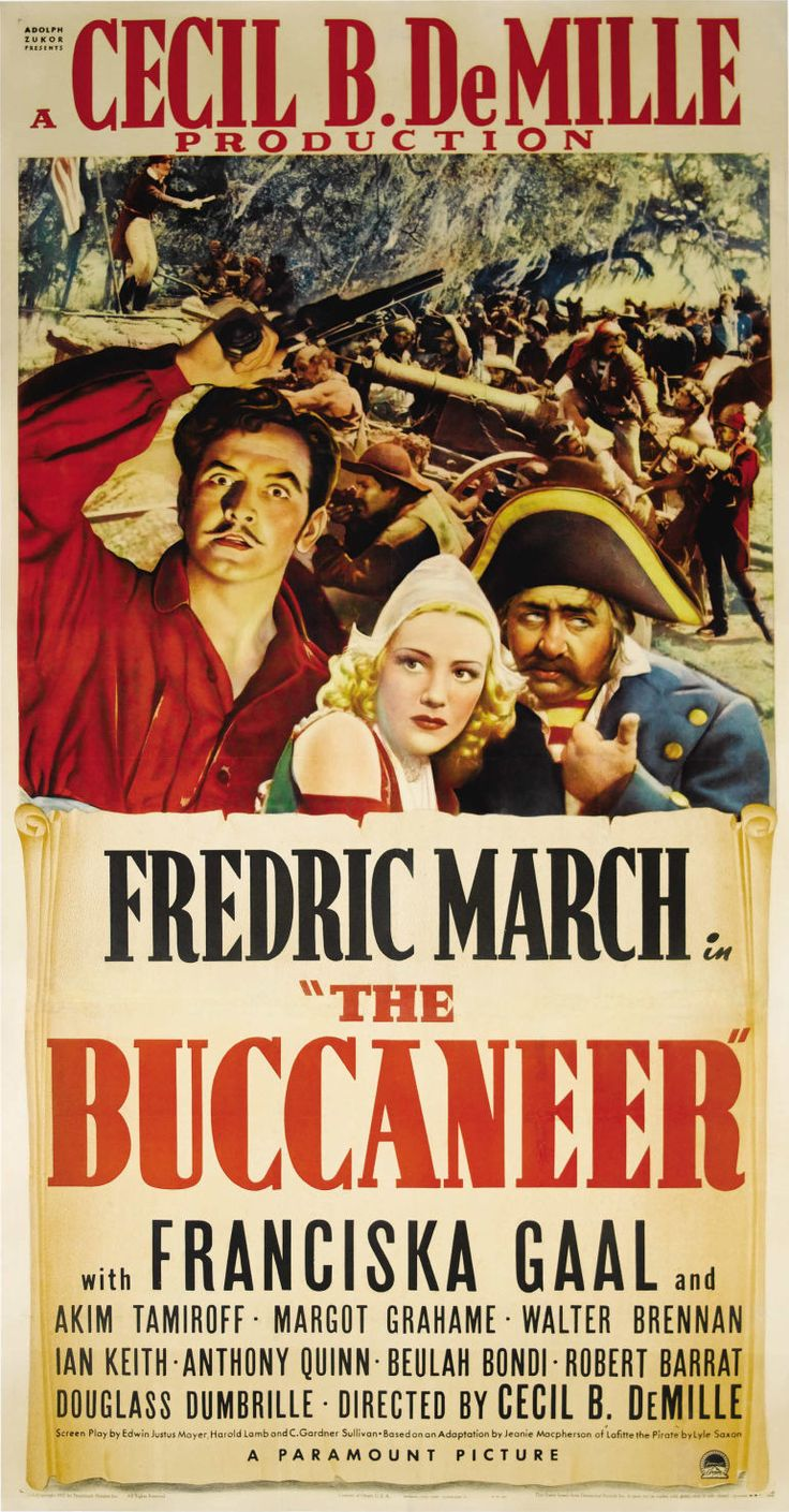 The Buccaneer (paramount, 1938) Movie Poster Cecil B Demille Directs This  Semi