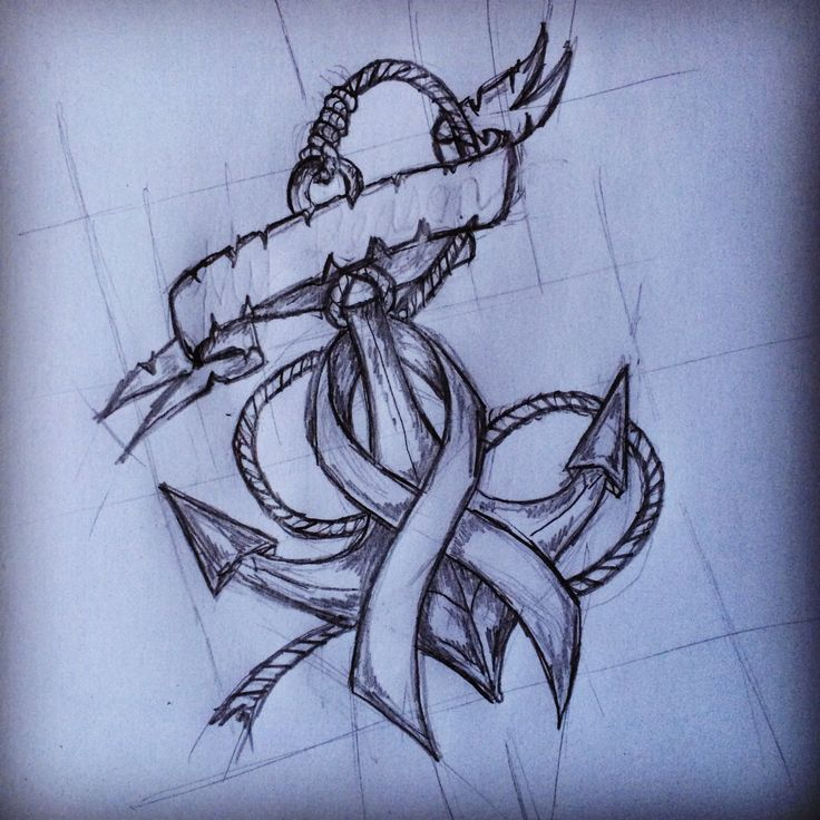Anchor / Fight against Cancer Ribbon tattoo sketch by - Ranz   I'm getting this as my first tattoo. ❤⚓