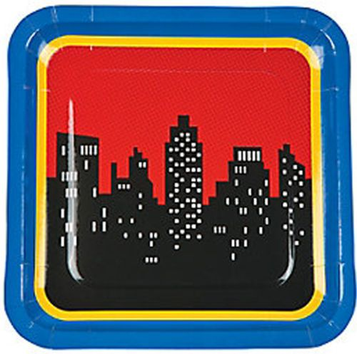 SUPERHERO-PARTY-Square-Lunch-Dinner-Plates-pack-of-8