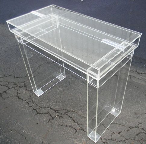 Lucite desk cosmetic table fully clear ghost table for Perspex desk