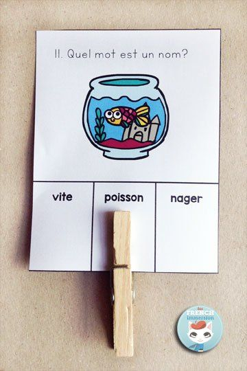 French Parts of Speech Resources: les classes de mots. Clip cards to practice identifying nouns in French.