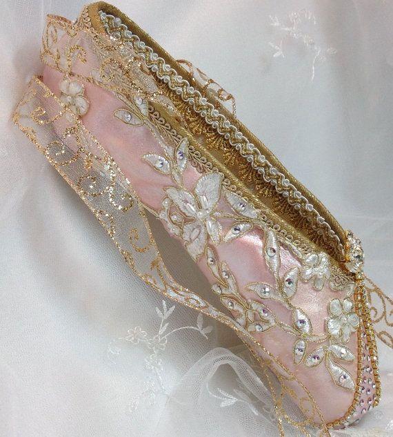 Exquisito PAR de rosa y oro decoradas zapatos del pointe de joyas vintage. Hada del ciruelo del azúcar. Aurora. Regalo de Ballet Cascanueces.