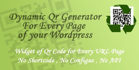 Dynamic Qr Generator - Wordpress Plugin . Dynamic Qr Generator , is a Wordpress Widget to appear the Qr Code of every Wordpress page Automatically . No shortcode needed or API key or config ,
