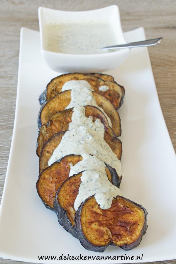 De aubergine werd gebakken in de airfryer, lekker makkelijk en snel klaar!