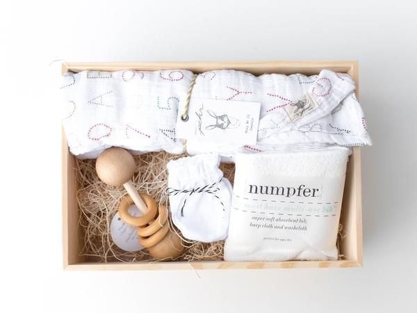 "Gender Neutral Baby Gift Box. Handmade Wooden Baby Rattle 100% Cotton Muslin swaddle blanket by Pehr (47""L x 47""W) 100% Cotton baby mittens Numpfer Organic Bamboo Terry Cloth Bib Keepsake Wooden Box H"