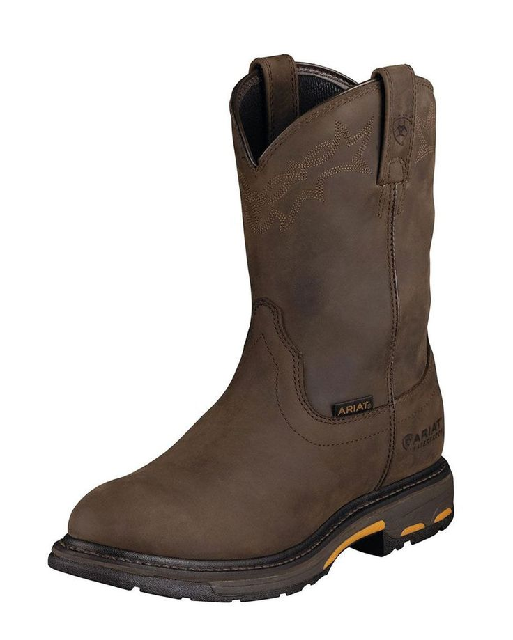 $169.95 Ariat Men's Workhog Pull-On H2O Boot - Oily Distressed Brown (pull on work boots for Shane)