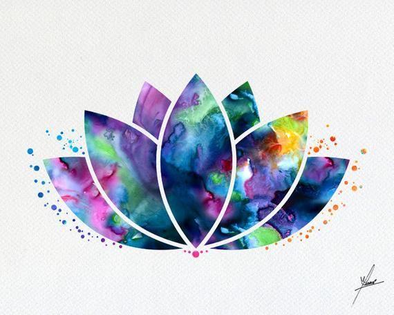 Lotus Flor Yoga Simbolo Acuarela Ilustraciones Arte Impresion Cartel Hecho A Mano Decoracion Decoracion Arte Decoracion Hogar Decoracion Pared Colgante Aum Om A Flor De Loto Dibujo Arte De La Flor