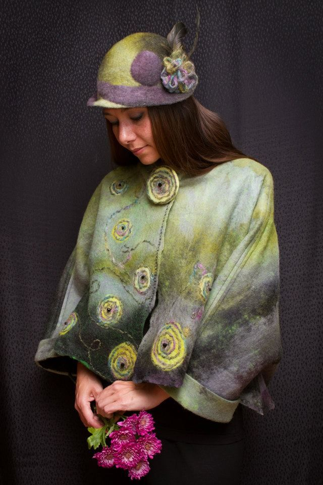 "Cynthia-Boudreau Nuno Felt Wrap ...just love these colors, gorgeous wrap ...On the ""Living Felt"" Blog site"