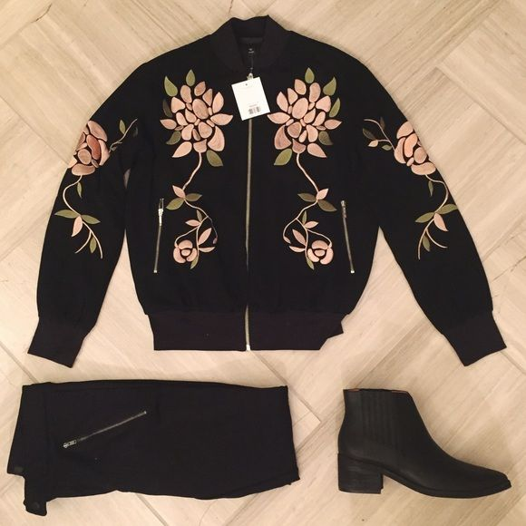 Topshop Floral Embroidered Bomber Jacket Premium bomber jacket with bold floral embroidery all over. Features zip front fastening, ribbed cuffs and hem. New with tags, never worn. As seen on Scream Queens! Topshop Jackets & Coats