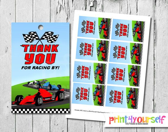 Racing Thank You Tags  Instant Download by Print4Yourself on Etsy