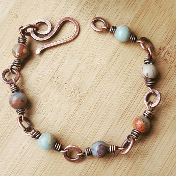 Beaded jasper bracelet wire copper by FromRONIKwithLove on Etsy                                                                                                                                                                                 More