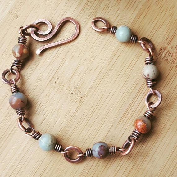 Beaded jasper bracelet wire copper by FromRONIKwithLove on Etsy