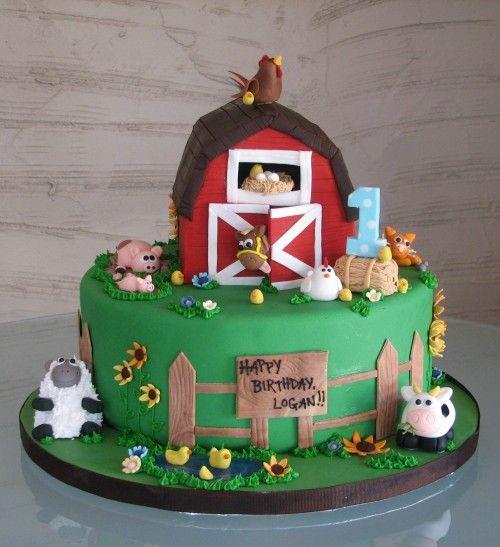farm first birthday cake