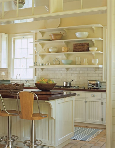 Soothing kitchen just one area of open shelfs home for Buttercream kitchen cabinets