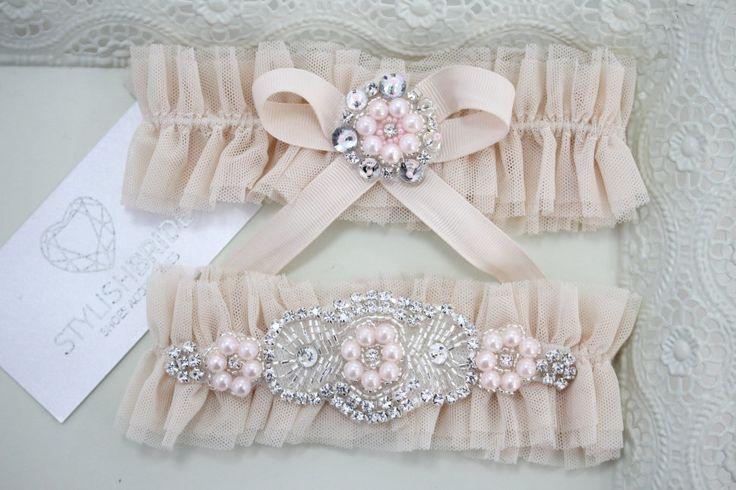 Bridal Peach Garter Tulle Set, Peach Bridal Garter, Tulle Peach Garter, Tulle Pink Bridal Garter Set, Pink Wedding Garter Set by StylishBrideAccs on Etsy