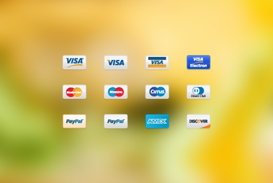 Payment method icons for free download. (Visa, Visa Electron, Mastercard, Maestro, Cirrus, Diners Club, PayPal, American Express, Discover)