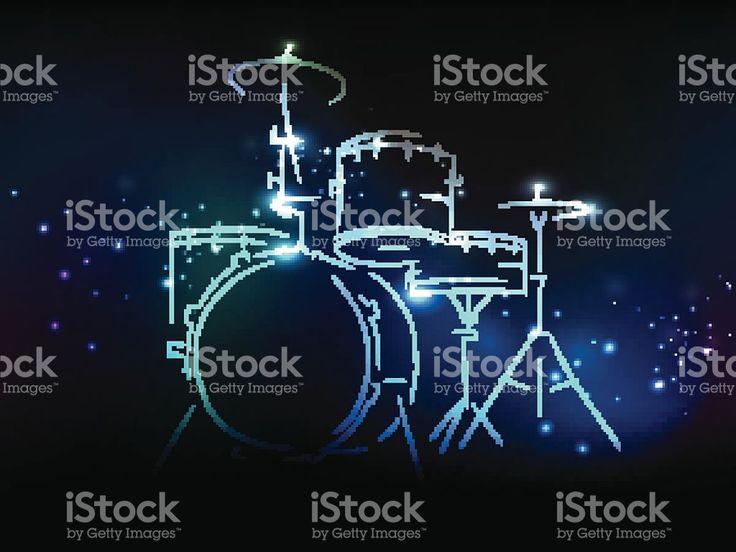 Tambour ensemble avec effet néon pour la musique concept. stock vecteur libres de droits libre de droits