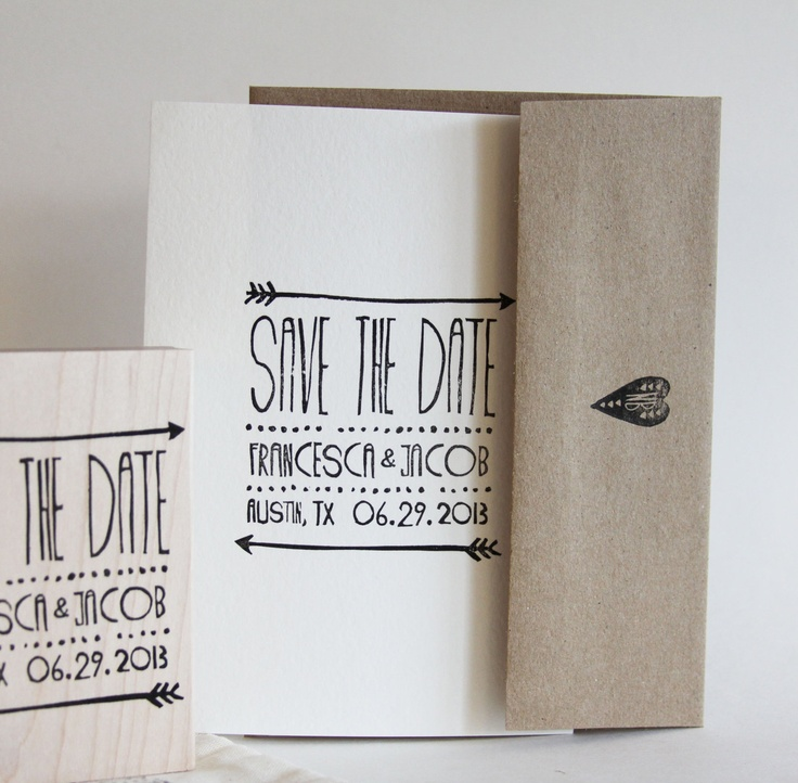 Arrow Save the Date, rustic wedding stamp. $85.00, via Etsy.