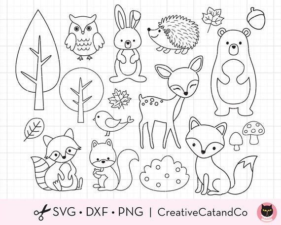 30+ Forest Animals Clipart Black And White For Drawing