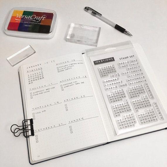 Kalender duidelijke stempel Kit voor uw van inkbyjeng op Etsy