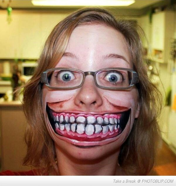 Creepy mouth face paint #Halloween