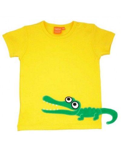 Lipfish Barneklær - T-skjorte med Krokodille, Gul
