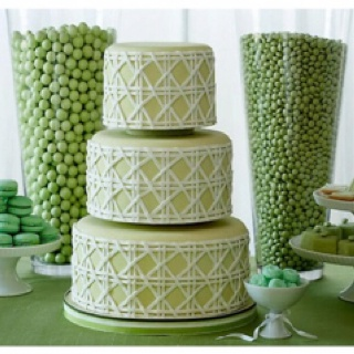 Amazing green candy/dessert bar inspiration. I love the drama that comes with the size of the vases behind the cake!