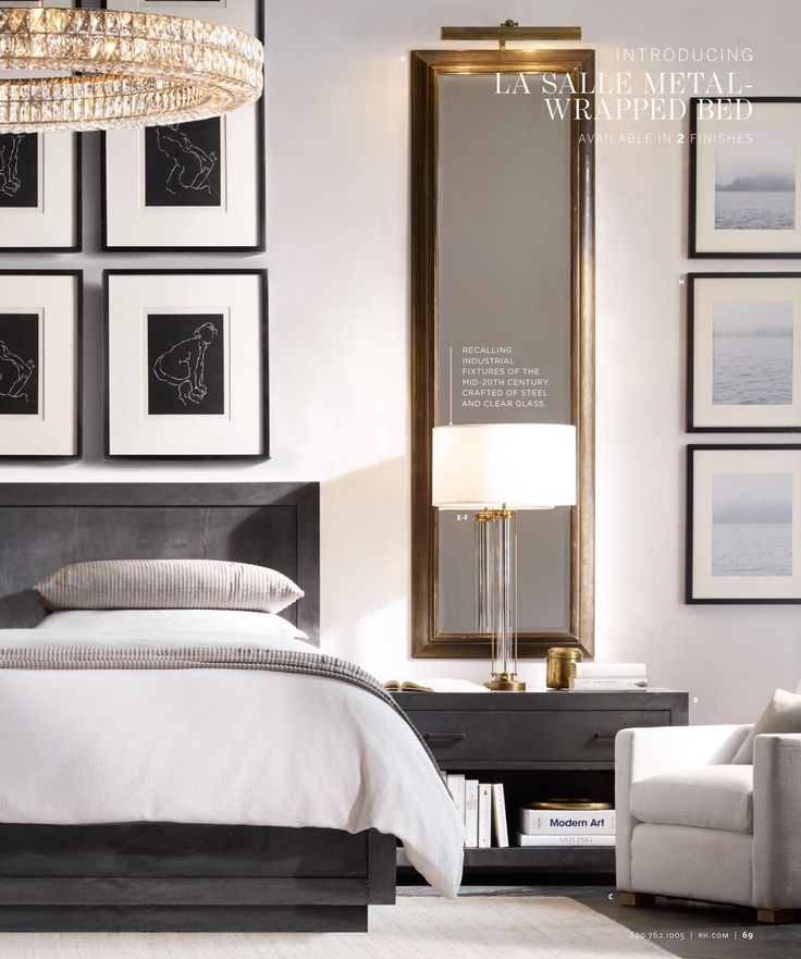 Love the long mirrors over nightstands framing the bed on either side